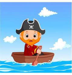 Cartoon little pirate was surfing the ocean vector
