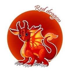 Cartoon red dragon closeup vector