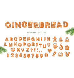 Christmas cartoon big set gingerbread alphabet vector