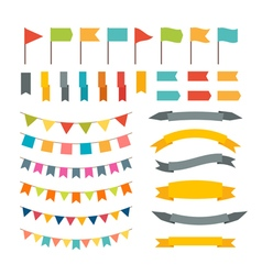 Collection of flags garland design elements vector image