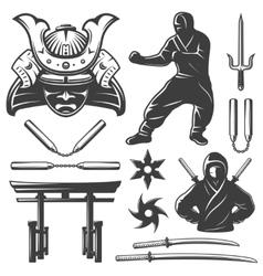 Combat Samurai Elements Set vector
