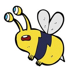 Comic cartoon frightened bee vector