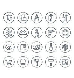 construction and house renovation line icons vector image
