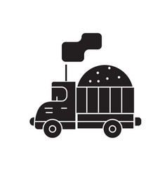 costruction sand truck black concept icon vector image