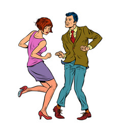 couple dancing retro dance vector image