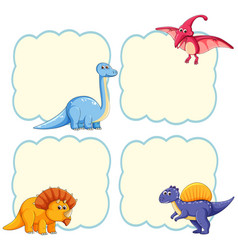 Cute dinosaur frame template vector