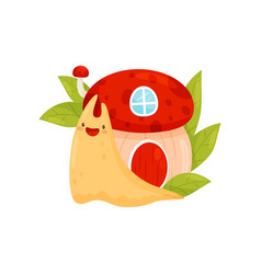 Cute snail with shell house on its back funny vector