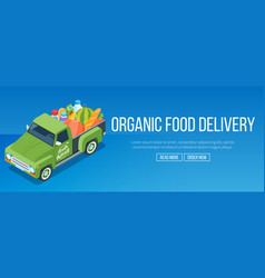 Delivery organic food truck vector