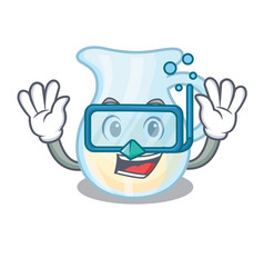 diving jug of milk isolated on mascot vector image