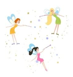Fairy with a magic wand vector