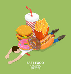 fast food harmful effects junk food danger vector image