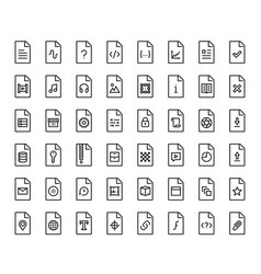 File types icon set in thin line style vector