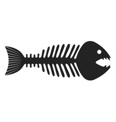 fish skeleton icon black fishbone and drawing vector image