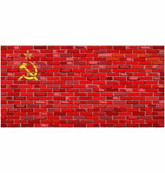 Flag soviet union on a brick wall vector