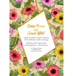 floral frame wedding invitation card greeting vector image