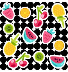 fruits doodle color stickers set vector image