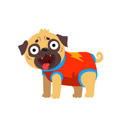 Funny pug dog character dressed as superhero vector