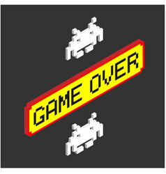 Game over yellow background red frame image vector