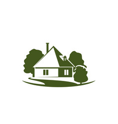 green trees and house garden icon vector image