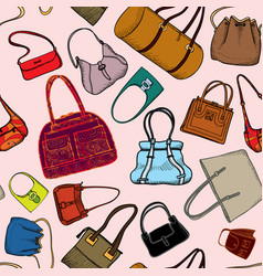 Handbags seamless pattern fashion bag accessory vector