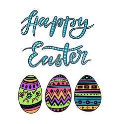 Happy easter colorful lettering with egs vector