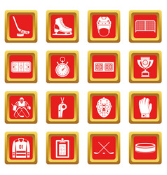 Hockey icons set red vector