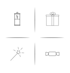 Holidays simple linear icons set outlined icons vector