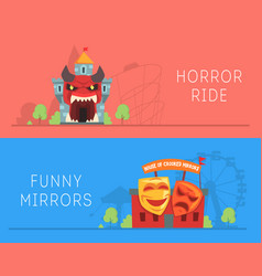 Horror ride and house crooked mirrors banners vector