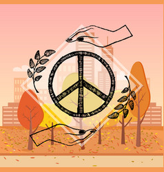 international peace day autumn vector image