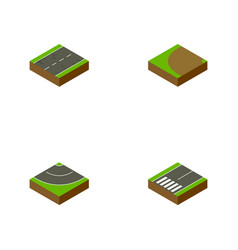Isometric way set of footpassenger cracks vector