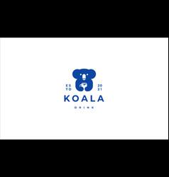 Koala drink a cup logo icon vector