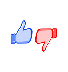 like and dislike icons thumbs up and thumbs down vector image