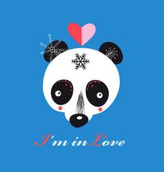 llustration funny loving teddy bear panda vector image