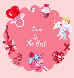 Love wreath design with cupcake cupid watercolor vector