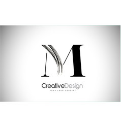 M brush stroke letter logo design black paint vector
