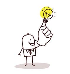 Man with light bulb on finger vector