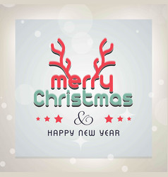 Merry chrismtas card with horns and light vector