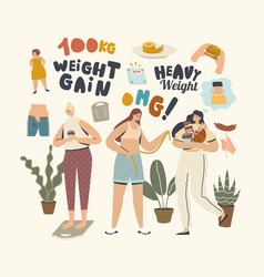 No diet concept female characters weight gain vector