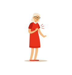 Old female character chest pain colourful vector