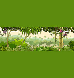 Panorama cartoon green tropical forest with palm vector