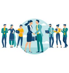 people shake hands vector image