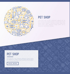 Pet shop concept in circle with thin line icons vector