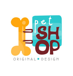 Pet shop logo design template pets care and goods vector