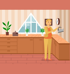 Pregnant woman in living room mom at kitchen vector