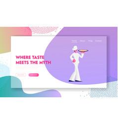 Restaurant staff demonstrating menu website vector