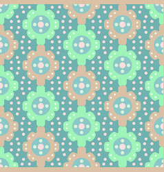 retro flower and dot simple pattern in pastel vector image