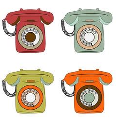 Retro phone items set on white vector