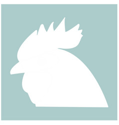 Rooster head the white color icon vector