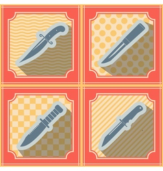 Seamless background with combat knives vector