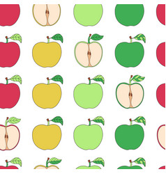 Seamless pattern with cartoon colorful apples vector